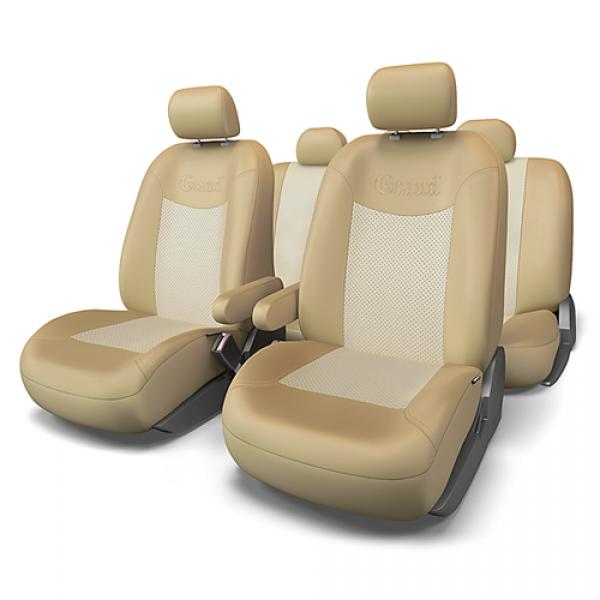 Авточехлы на сидения GRAND (бежевый) эко-кожа