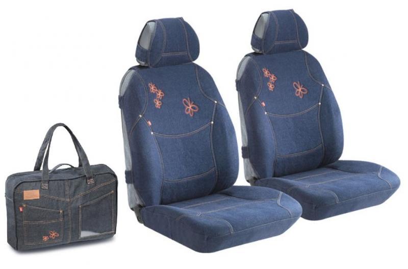 """Комплект джинсовых маек на передние сиденья """"Loran Front"""" +Сумка (Синий)"""