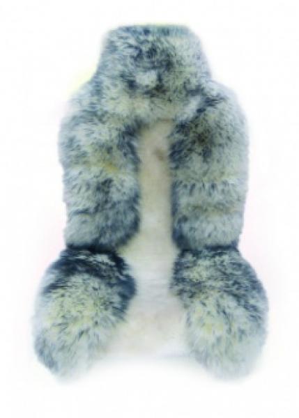 Накидка из натуральной овчины,комбинированный бело-серый мех