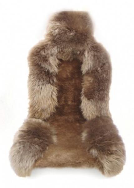 """Накидка из натуральной овчины на сиденье, комбинированный мех """"Какао"""""""