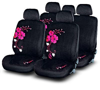 Комплект женских чехлов в салон Sakura черные