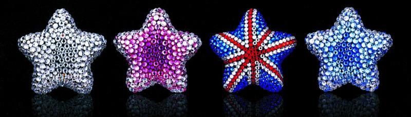 Звезда из кристаллов на дефлектор (внутри таблетка-ароматизатор воздуха) английский флаг