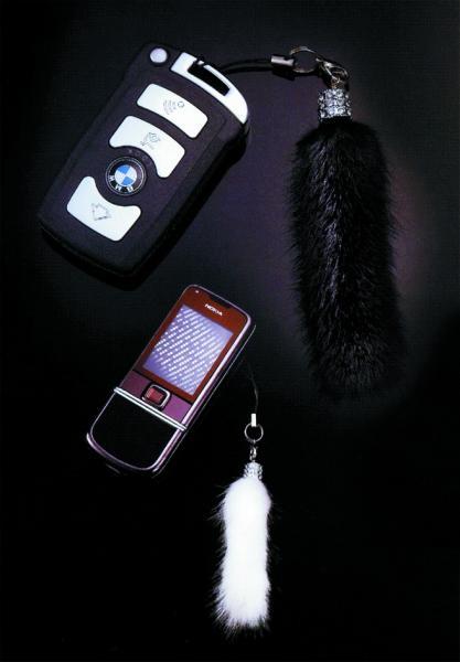 Подвеска-брелок меховая(норка) черный