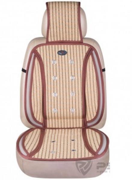 Накидка на сиденье из побегов молодого бамбука+текстиль (беж)