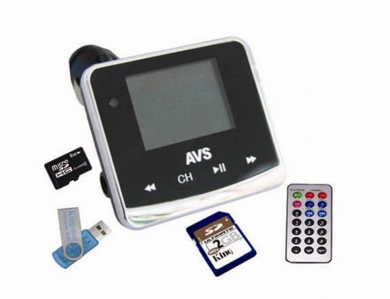USB MP3 плеер FM трансмиттер с дисплеем и пультом ДУ avs f558