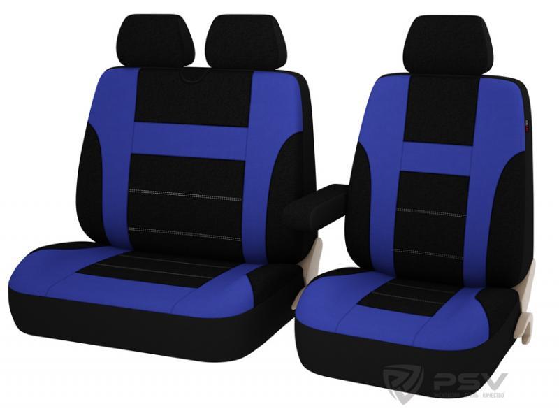 """Универсальные чехлы """"PSV"""" Commodore Transit для микроавтобусов (Синий)"""