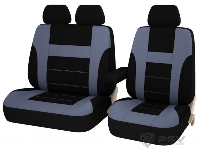 """Универсальные чехлы """"PSV"""" Commodore Transit для микроавтобусов (Т.Серый)"""