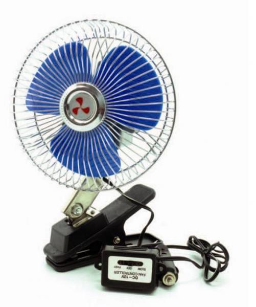 """Вентилятор автомобильный AVS Comfort 8043 12В 6"""" (корпус: металл, переключатель, цвет: серебристый)"""
