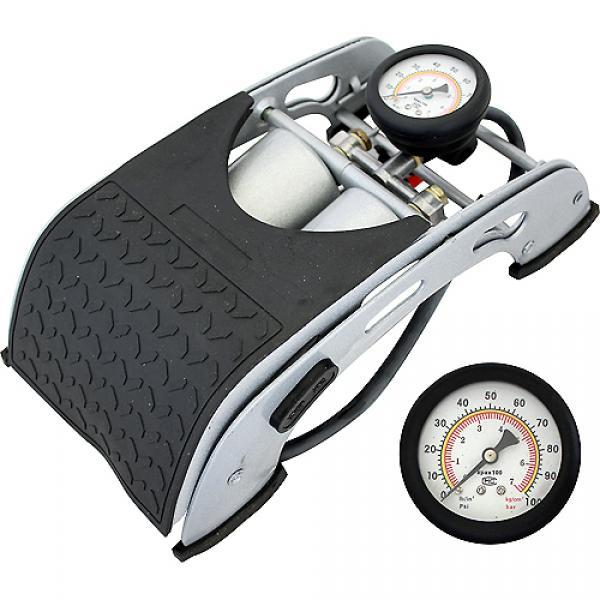Насос ножной двухцилиндровый HiTech с манометром, 55х120 мм