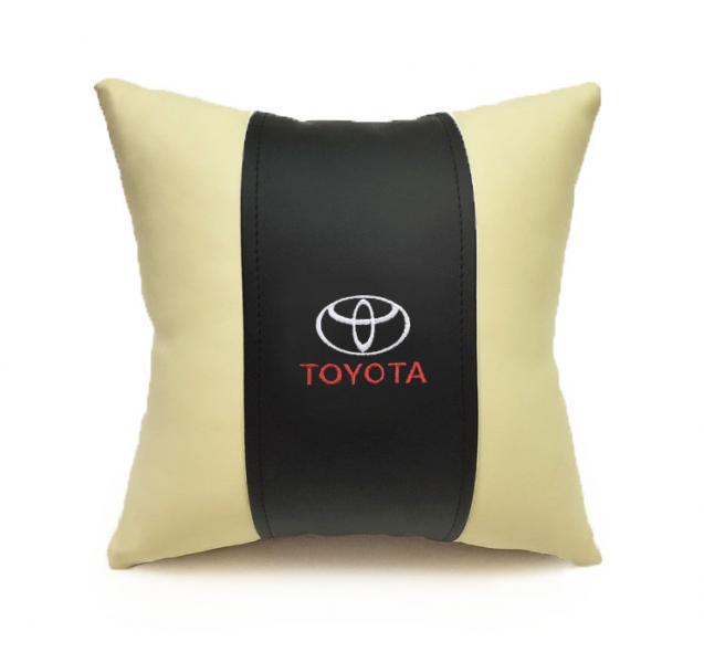 Автомобильная подушка из эко-кожи TOYOTA