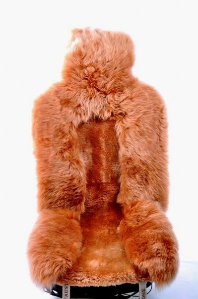 Натуральный меховой чехол из овчины цвет Сахара, комбинированный ворс