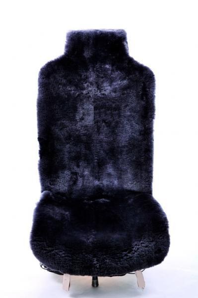Натуральный меховой чехол из стриженной овчины черного цвета (На переднее сидение)