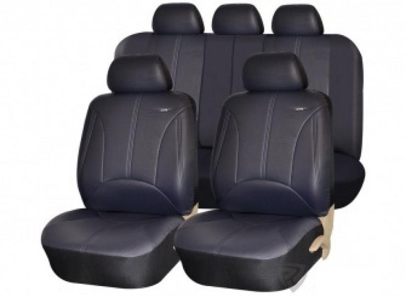 """Авточехлы на сидения """"PSV"""" Imperial Эко-кожа (Черный) к-н, 3м, S, L"""