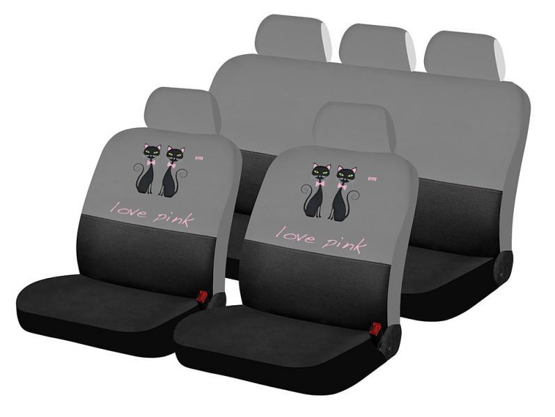 Авточехлы на сиденияLOVE PINK CAT (черный-серый)