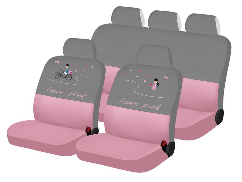 Авточехлы на сидения LOVE PINK LOVE STORY (розовый-серый)