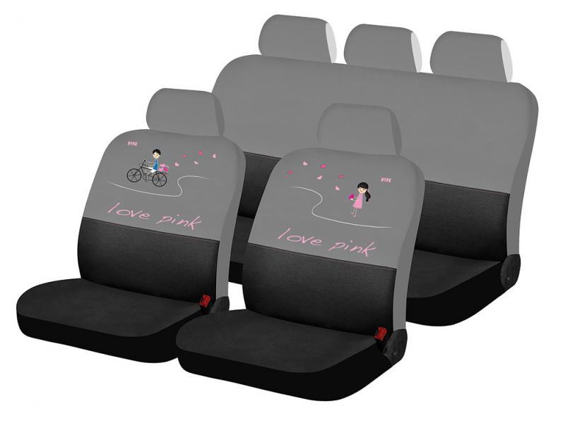 Авточехлы на сидения LOVE PINK LOVE STORY(черный-серый)