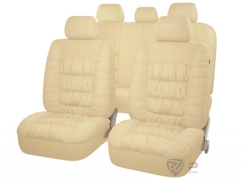 Авточехлы на сидения PSV MAGNAT (L) Бежевый эко-материал с элементами драпировки