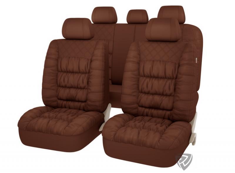 Авточехлы на сидения PSV MAGNAT (L) Коричневый эко-материал с элементами драпировки