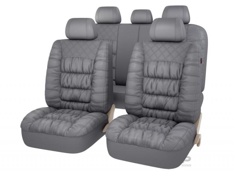 Авточехлы на сидения PSV MAGNAT (L) Серый эко-материал с элементами драпировки