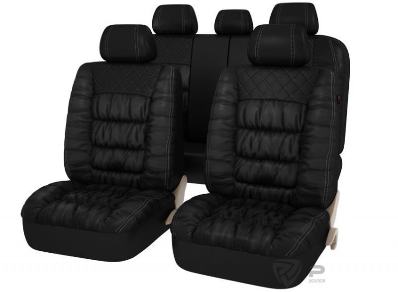 Авточехлы на сидения PSV MAGNAT (L) Черный эко-материал с элементами драпировки