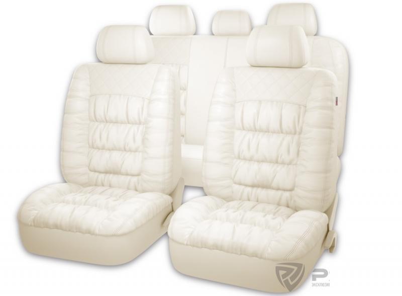 Авточехлы на сидения PSV MAGNAT (L) Белый эко-материал с элементами драпировки