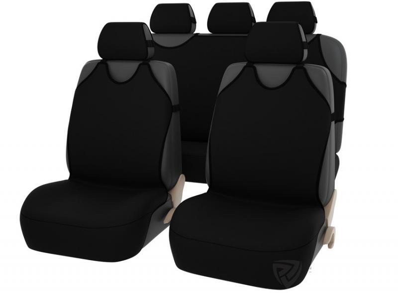 Майки-накидки на передние и задние сиденья SUPERB Plus (Черные)