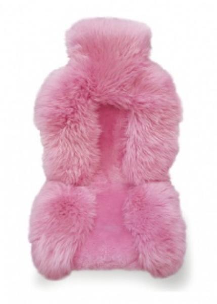 Накидка из натуральной овчины на сиденье комбинированная, роз. цвета